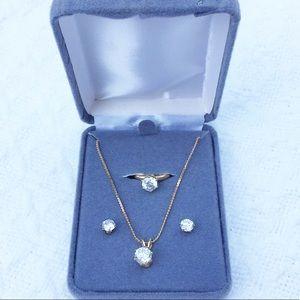 FAUX DIAMOND JEWELRY SET: NECKLACE, EARRINGS, RING